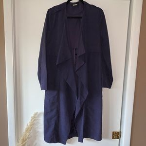 Missguided baby blue waterfall trench size is 4